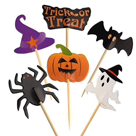 FEPITO 60 Pezzi di Halloween Cupcake Topper Halloween Stuzzicadenti  Bandiere Indicatori per Halloween Party Torta Cibo c5e1cfefc230
