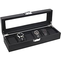 Mantello 6-Watch Display Box Carbon Fiber Design with Glass Top