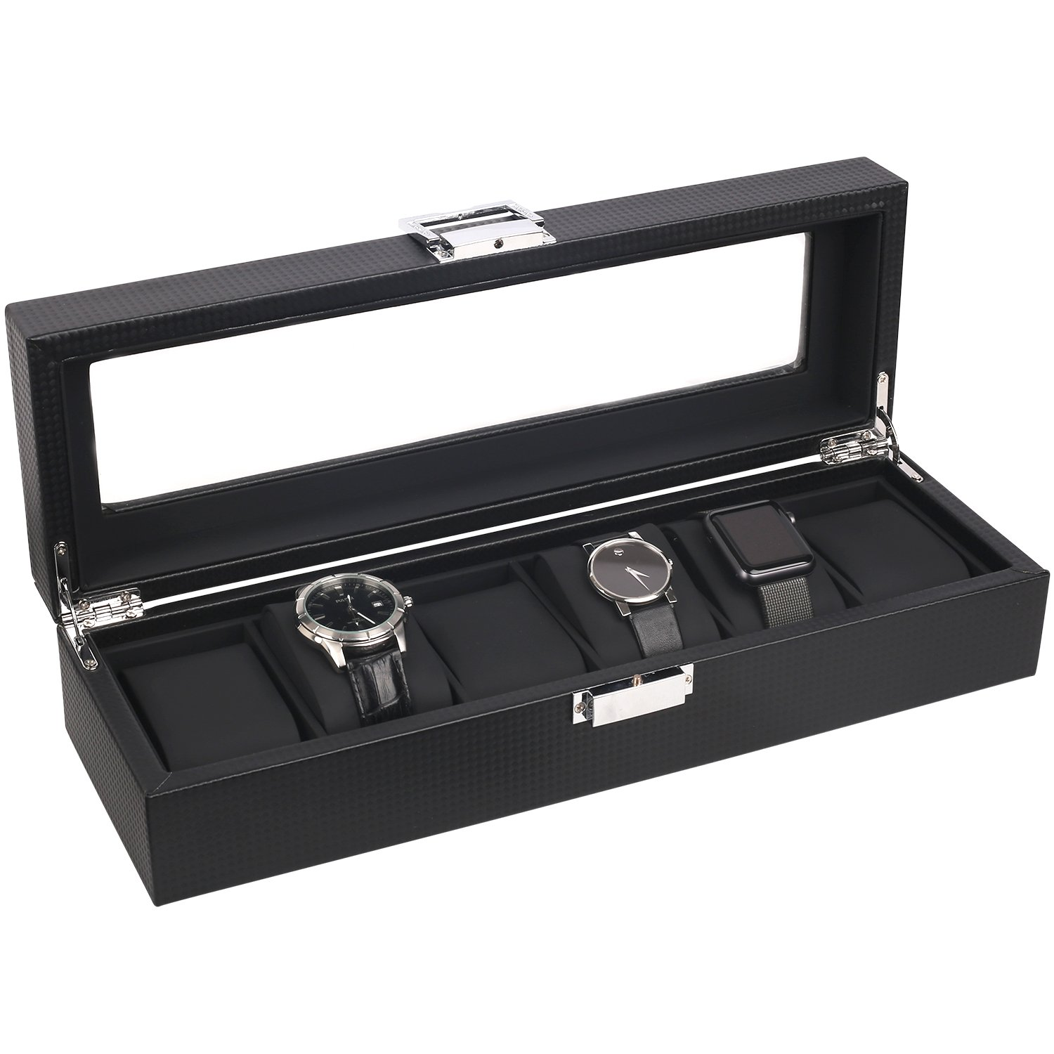 Mantello 6-Watch Box Carbon Fiber Design with Glass Top by Mantello