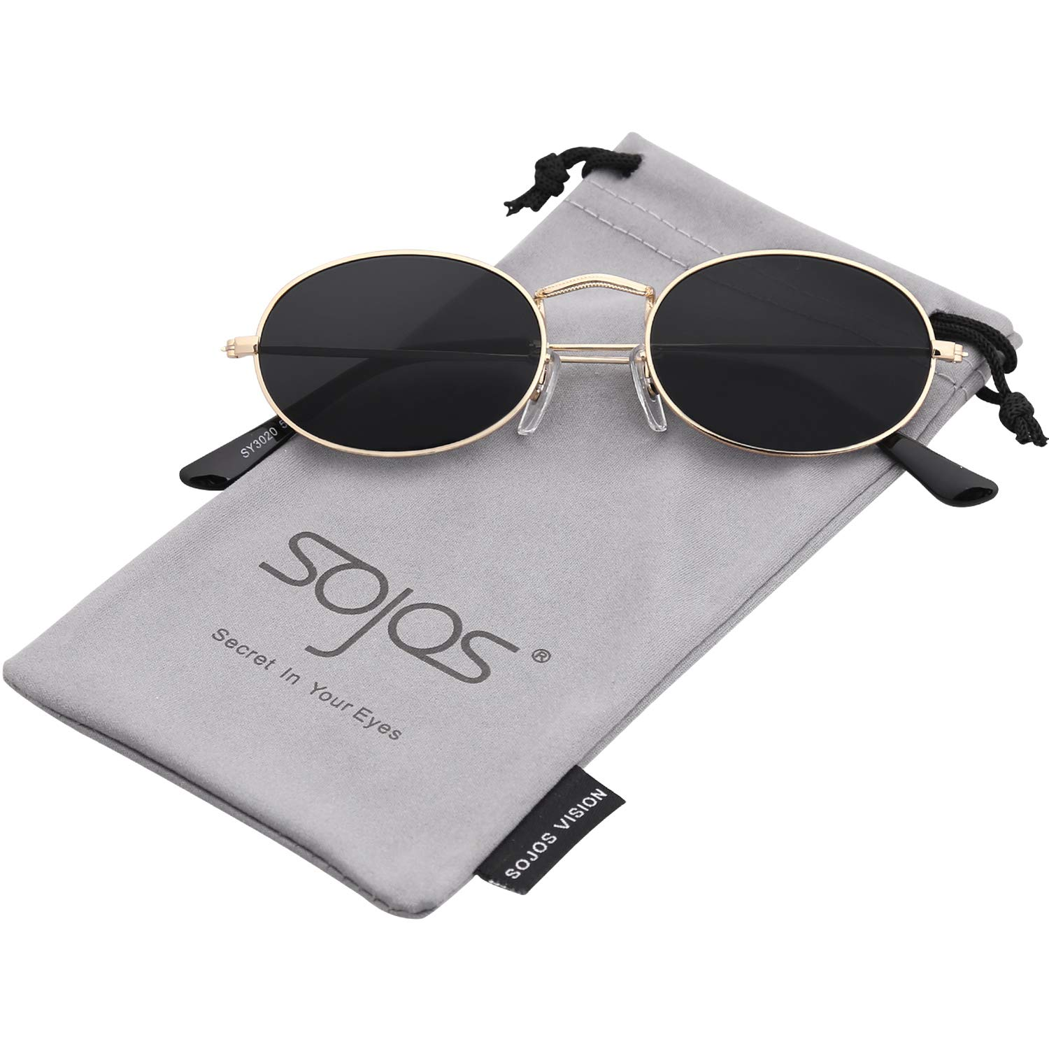 bf1902ee5db SOJOS Vintage Slender Oval Sunglasses Small Metal Frame Candy Colors SJ1087  with Black Frame Grey Lens