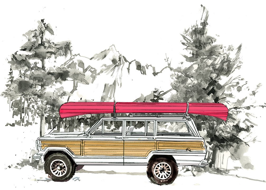 Jeep Grand Wagoneer Canoe Flour Sack Tea Towel