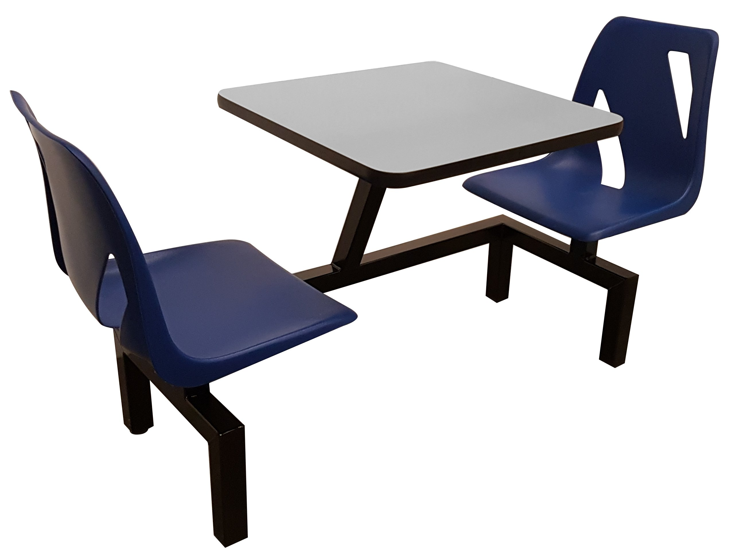 Rodo Industries DS2W-BL-GR DS2W,BL,GR DS Series Public Cluster Modular Seating, Two Seat Wall Units, Blue Seat, Grey Tabletop, 60'' x 24'' x 29''