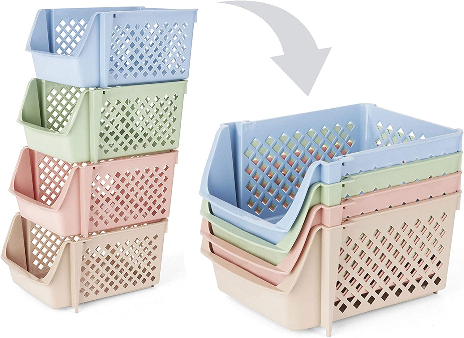 Skywin Plastic Stackable Storage Bins for Pantry - 4-Pack Multi-Colored Stackable Bins For Organizing Food, Kitchen, and Bathroom Essentials