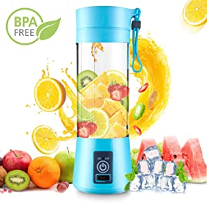 DOTSOG Portable Blender,Household Juicer Cup 380ml Fruit Mixer Bottle with Stainless Steel 6-Blades in 3D,2000mAh USB Rechargeable Batteries,Detachable Cup,Baby Cooking ,Mixing Fruit Juice,Vegetable Juice,Milkshake,Ice Drink(Blue)