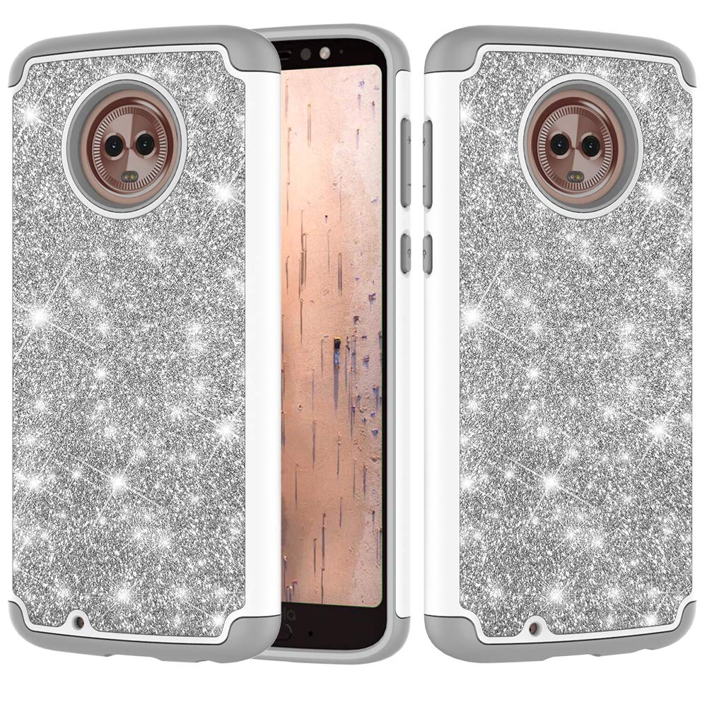 for Moto G6 Play Glitter Phone Case, QFFUN Bling Shiny Skin Soft Silicone Inner + Hard Plastic Back Hybrid Double Layer 2 in 1 Shell Shockproof Anti-scratch Mobile Phone Protective Cover for Moto G6 Play Case with Screen Protector - Black