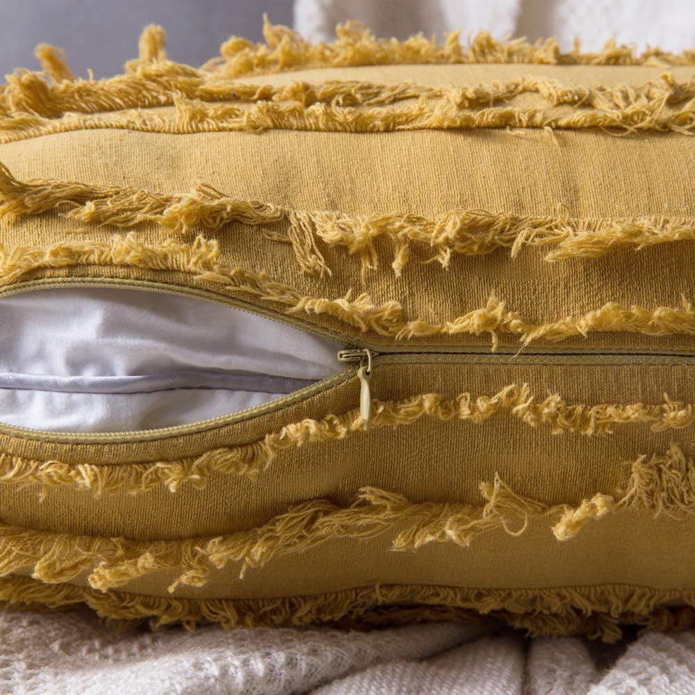 MIULEE Lot de 2 Decorative Housse de Coussin Coton M/élang/és D/écoratif Protecteurs de Coussin Lin Canap/é Home Decor Taie doreiller Classic D/écoration de la Maison 30 50cm Beige