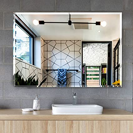 MIRROR TREND Frameless Mirror Rectangle Beveled Wall Mirror With Solid Core  Wood Backing, Handmade Clear