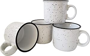 14oz Ceramic Camper Mug by Essential Drinkware (Set of 4), White with Speckled Finish - Durable Thick Walled Camping Style Coffee Cup for Outdoors or Home