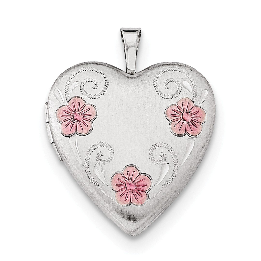 ICE CARATS 925 Sterling Silver 20mm Enameled Flower Heart Loc Necklace Pendant Charm Locket Fine Jewelry Ideal Gifts For Women Gift Set From Heart