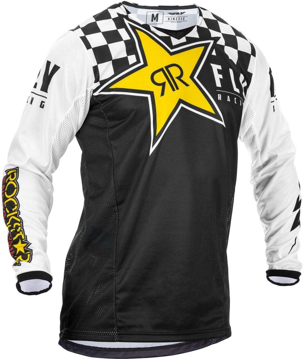 Large Black//White Rockstar Fly Racing 2020 Kinetic Jersey