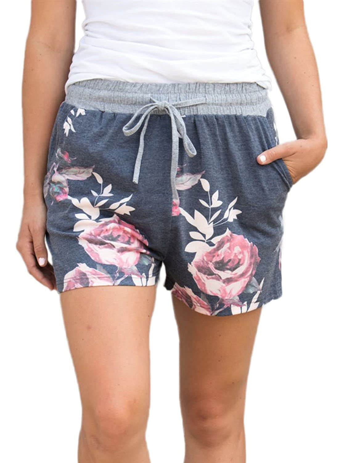 LOSRLY Women Floral Printed Summer Drawstring Waist Shorts with Pocket Plus Size