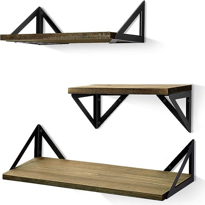 BAYKA Floating Shelves Wall Mounted, Rustic Wood Wall Shelves Set of 3 for Bedroom, Bathroom, Living Room, Kitchen (Grey, Pine)