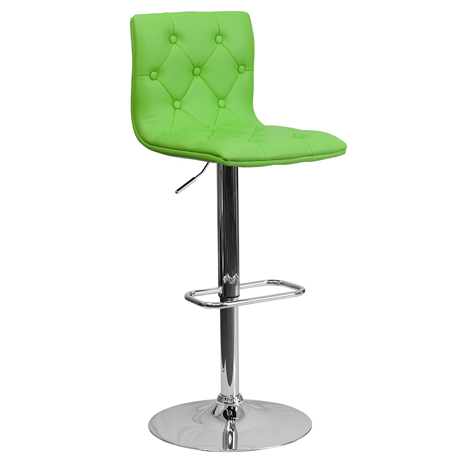 Flash Furniture Contemporary Tufted Black Vinyl Adjustable Height Barstool with Chrome Base CH-112080-BK-GG