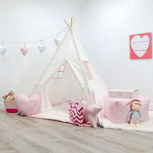 reputable site a1bd1 8ee3e Amazon.com: Kids Teepee Tent Set, White & Pink Teepee Set ...