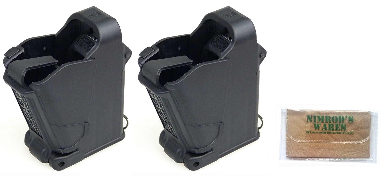 Nimrod's Wares Two Maglula UpLULA Speed Loaders Universal Pistol 9mm-45 ACP  9mm-45 ACP UP60B Plus Microfiber Cloth