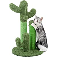 PAWZ Road Cat Scratching Post Cactus Cat Scratcher Featuring with 3 Scratching Poles and Dangling Ball-Medium 23 Inches