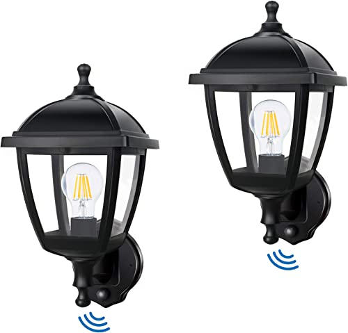 FUDESY 2-Pack Outdoor Wall Lights with Dusk to Dawn Sensor,8W Plastic Corded-Electric Exterior Light Fixtures Include Edison Bulbs for Porch,Garden,FDS416EPPSB2