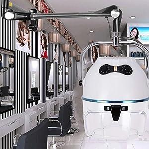 FDC Wall Mounted Hair Dryer Salon Professional Bonnet Style 1,000 Watt Salon Hair Steamer - White