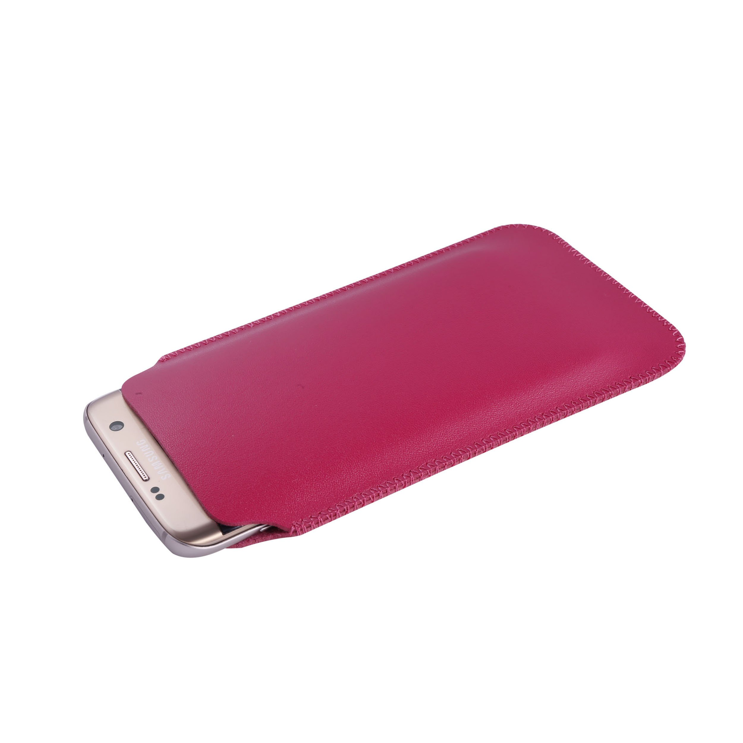 UltraJacket Light & Slim Durable Vegan-Friendly PU Leather Sleeve Case with SuperSoft Microfiber Lining to Prevent Scratching & Damage for Samsung Galaxy S7 Edge - Frustration-Free Packaging - Fuchsia