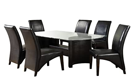 c4f4b4830c Image Unavailable. Image not available for. Color: Furniture of America  Themis 7-Piece Dining Table Set with 10mm Beveled Glass Top,