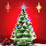 Ceramic Christmas Tree,Pre-Lit Hand-Painted Ceramic Christmas Tree,Christmas Decorations Tabletop Winter Tree Décor with Mult