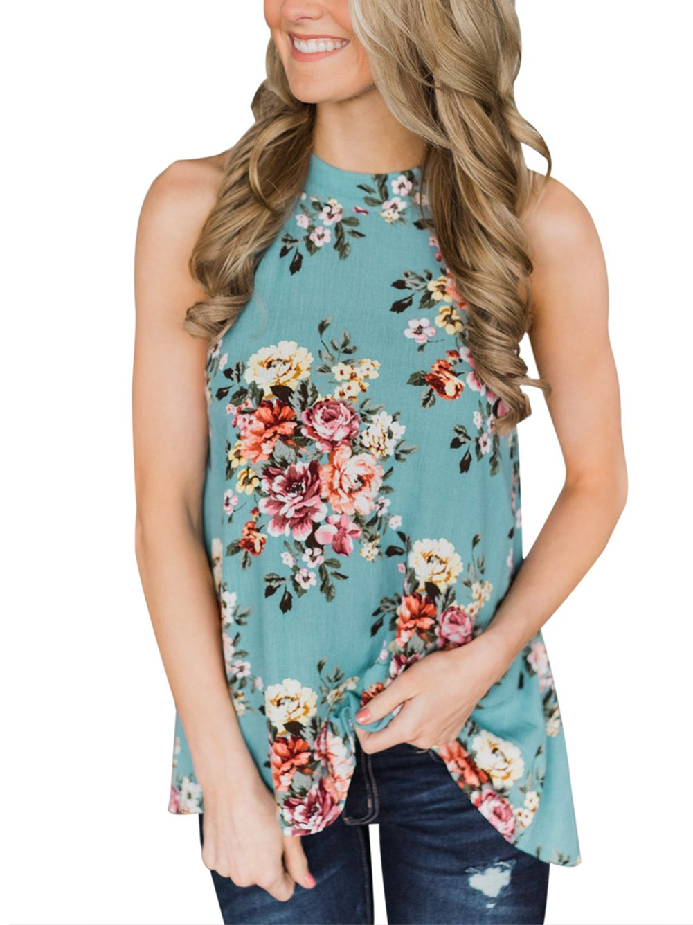 Famulily High Neck Swing Cami Top with Keyhole Back Blue X-Large