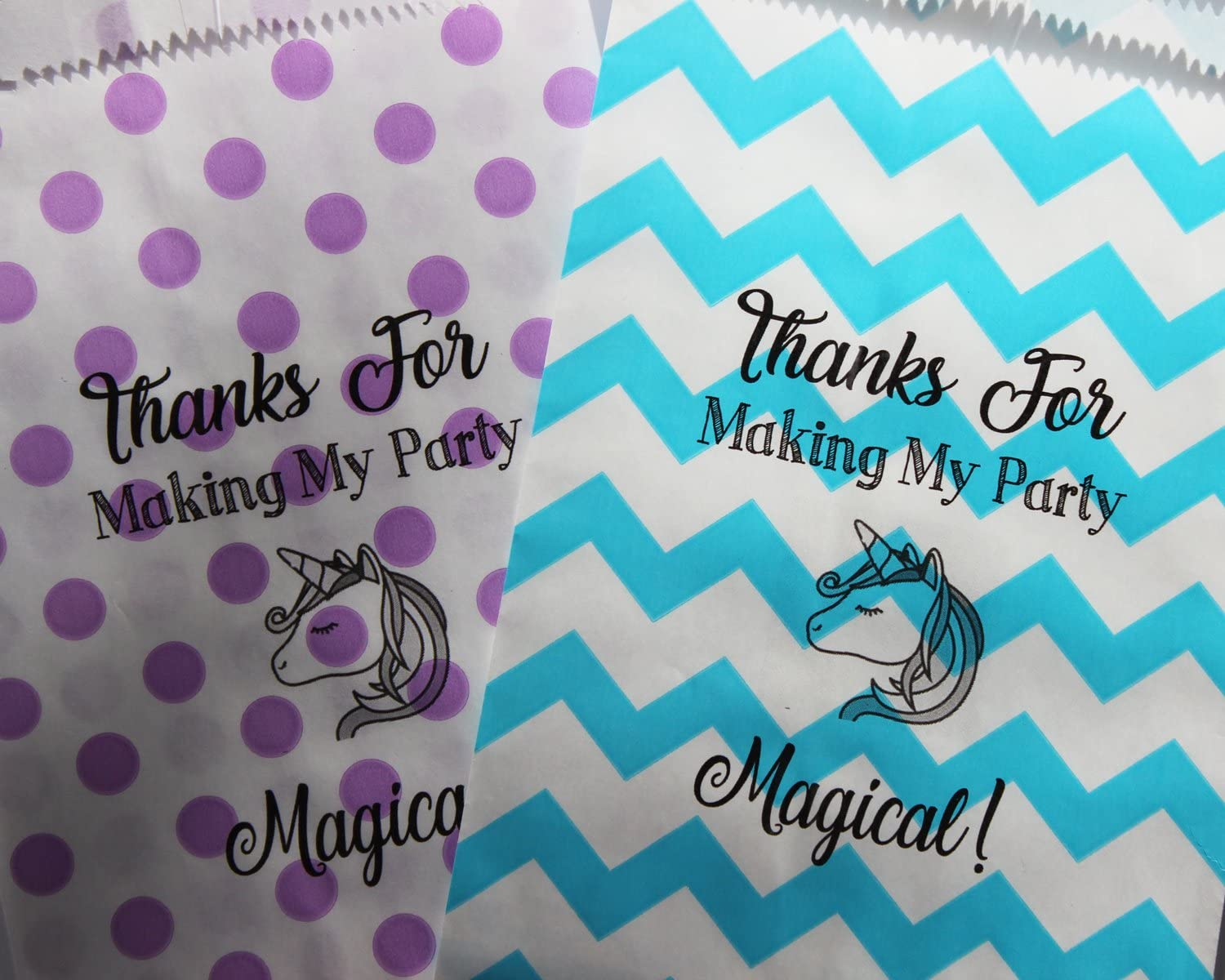 Bakers Bling Birthday Party Unicorn Favor Bags with Stickers, Thanks for Making My Party Magical, Purple Polka Dots, Aqua Blue Chevron, 5.5