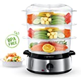 Aigostar Fitfoodie 30INA - Electric Food Steamer, 800W, 3-Tier 9 L Capacity, 60-Minute Timer, Brushed Stainless Steel, Stackable Baskets, BPA Free, Exclusively Design.
