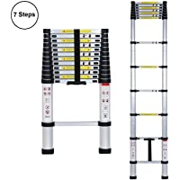 Jukkre Ultra-Stable Telescopic Folding Step Ladder, Aluminium, 2 Meter (Silver)