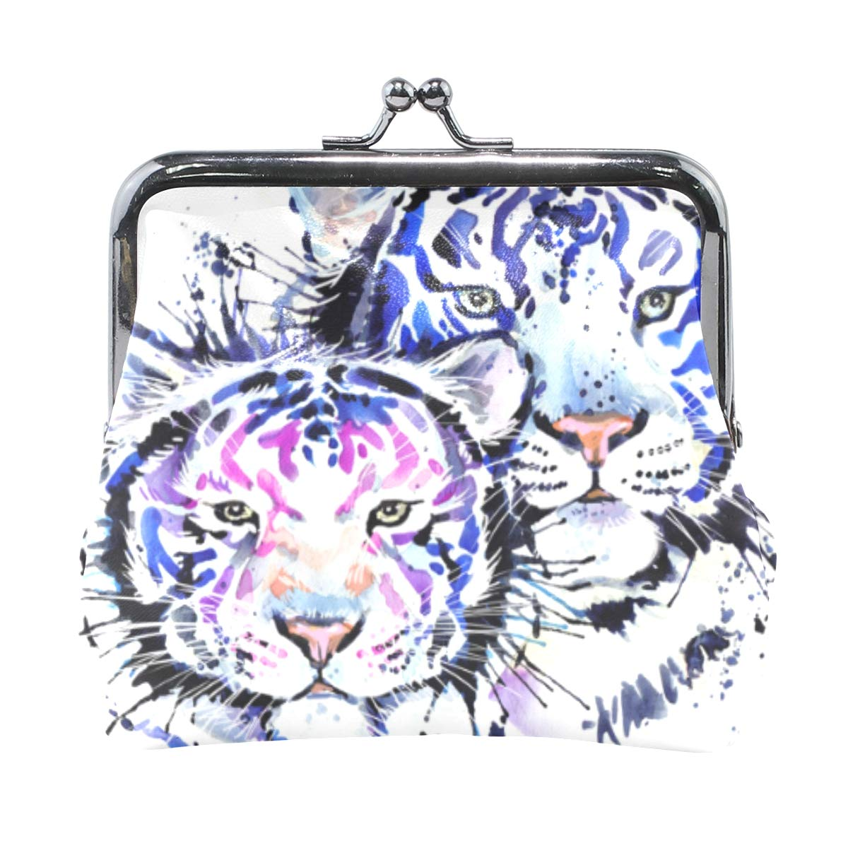 White Tiger Colorful Coin Purse Buckle Vintage PU Pouch Kiss-lock Wallet for Women Girl