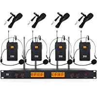 XTUGA A400 Metal Receiver 4-Channel UHF Wireless Microphone System with 4 Bodypack for Stage Church Use for Family Party…