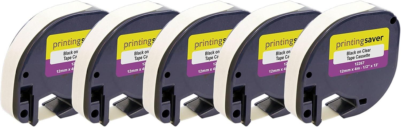 10 Nastri Compatibili LetraTag S0721530 12mm x 4m Nero su Trasparente Etichette in Plastica per DYMO LetraTag LT-100H LT-100T LT-110T QX50 XR XM 2000 Plus