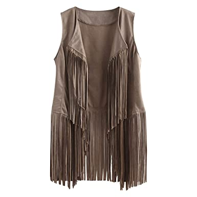 Women Suedette Ethnic Sleeveless Tassels Jacket Fringed Vest Cardigan Waistcoats