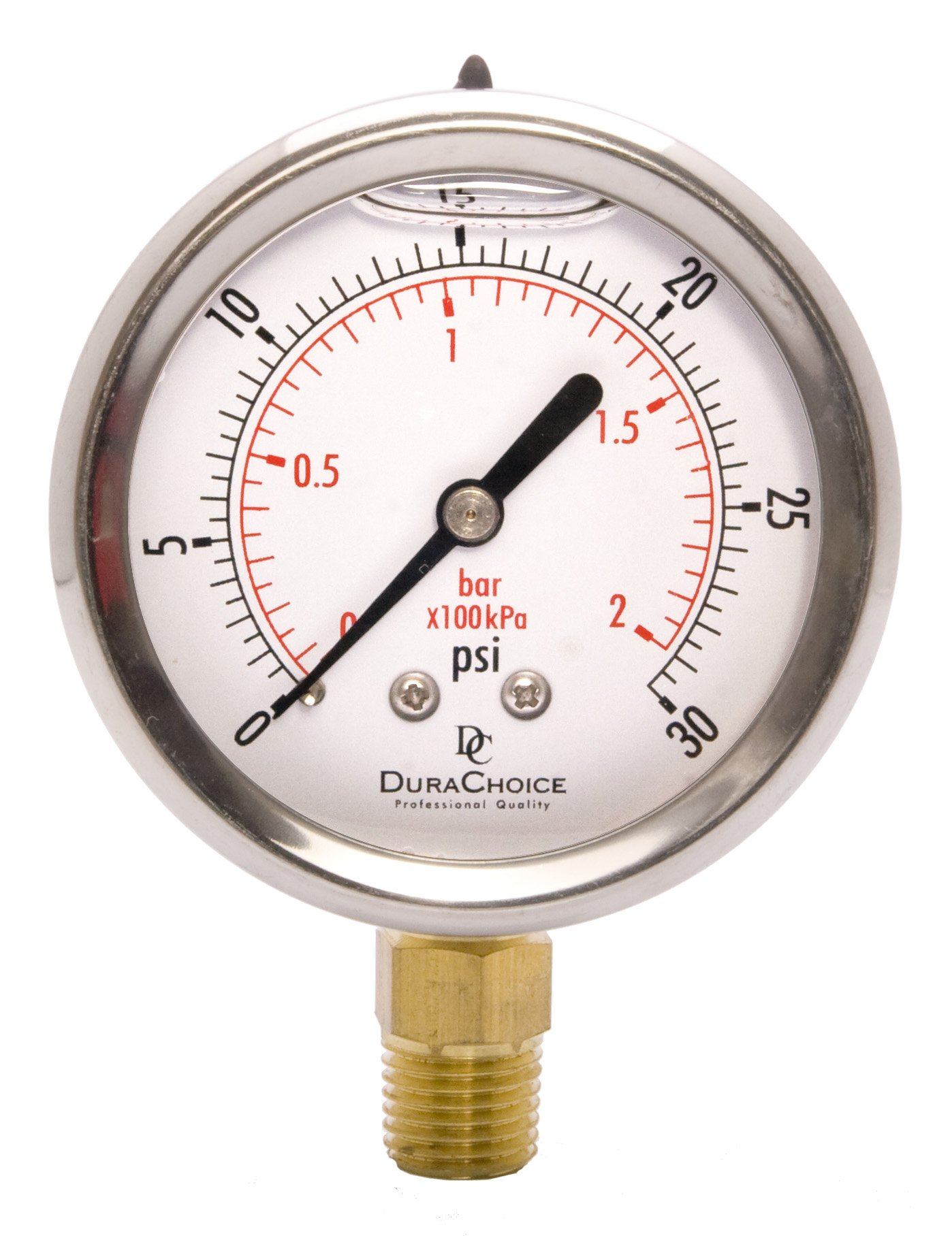 2-1/2'' Oil Filled Pressure Gauge - Stainless Steel Case, Brass, 1/4'' NPT, Lower Mount Connection 0-30PSI