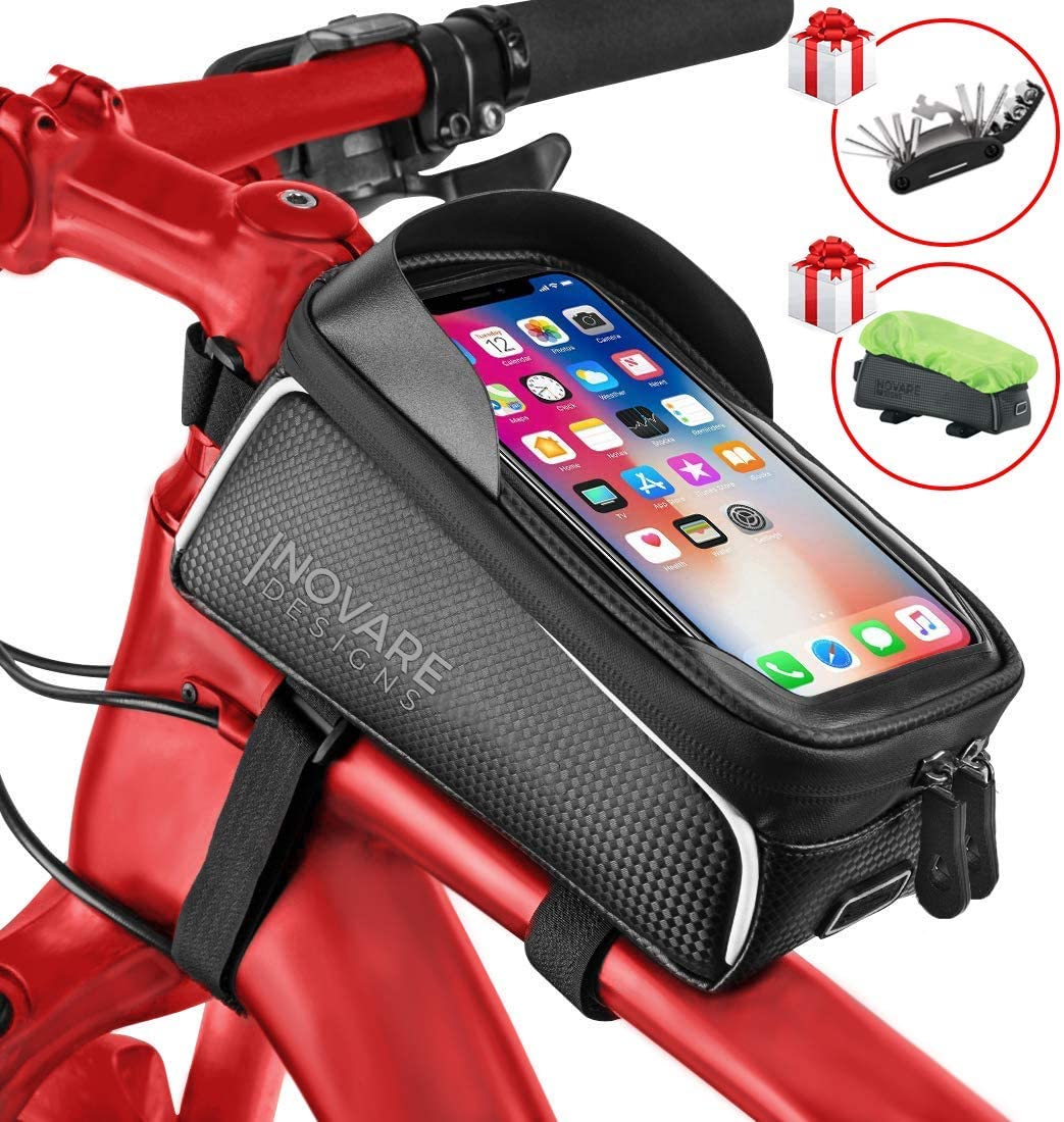 Inovare Designs Bike Phone Bag Waterproof - Bicycle Phone Bag - Top Tube Bike Bag - Bike Bags Frame - Bicycle Bags Handlebar Bike Bag Top Tube Bike Phone Mount Bike Phone Holder Bicycle (Model 1)