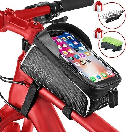 Waterproof Mountain Bike Frame Front Bags Pannier Hiking Mobile Phone Holder