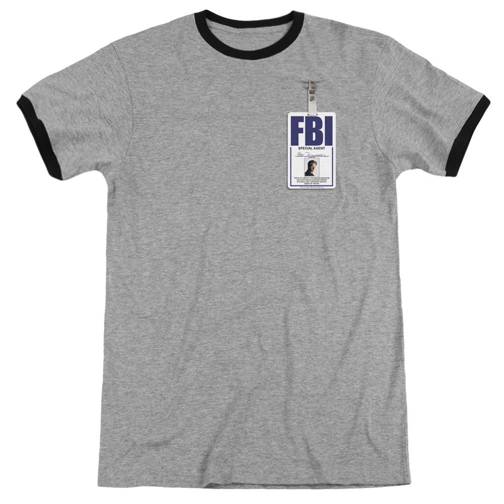 Mulder Badge Adult Ringer T Shirt X Files