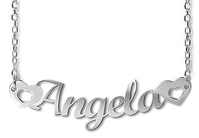 83782b484b75 NOMISSIMO G11 Collar con nombre Angela et coeurs Y Corazones de plata 925  rodeado antialérgico. Hecho en Italia.  Amazon.es  Joyería
