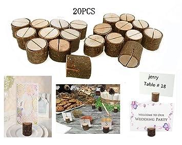 Daxstar - Soporte rústico con base de madera auténtica para decorar mesas de boda con el número de mesa, tarjeta con el nombre, foto, etc que se ...