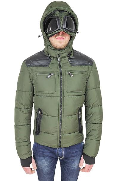 AK collezioni Piumino Uomo Verde Invernale Casual Giacca Giubbotto con  Cappuccio e Lenti  Amazon.it  Abbigliamento 989ef78f85f