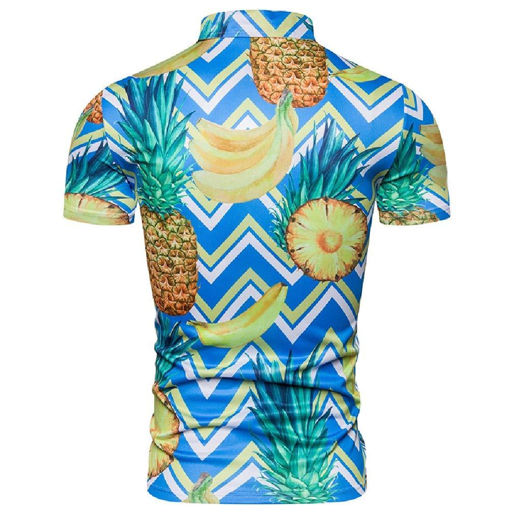 Mfasica Men Printed Silm Fit Short Sleeve Hawaiian Beachwear Tees