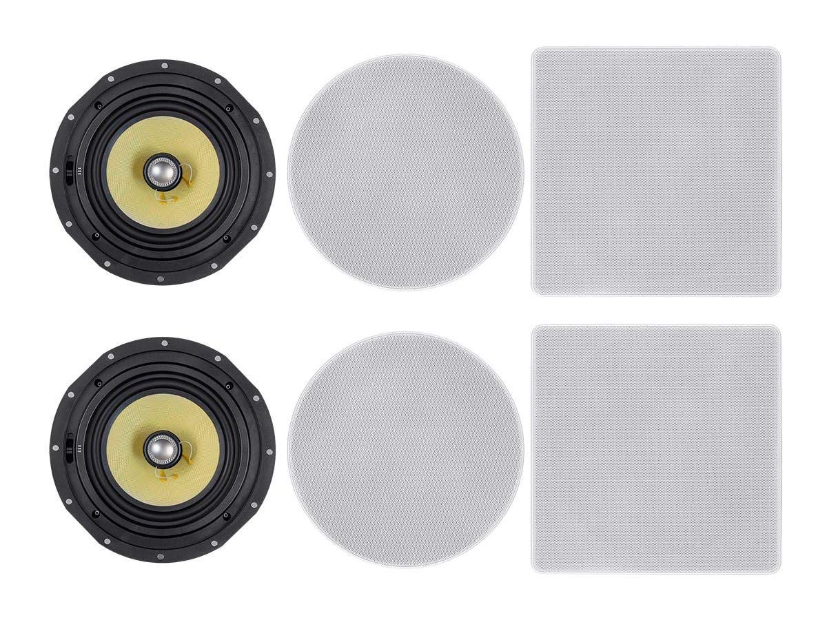 Monoprice 2 Way Fiber In Ceiling Speakers 8 Inch Pair Snap Lock With Magnetic Grille Caliber Series