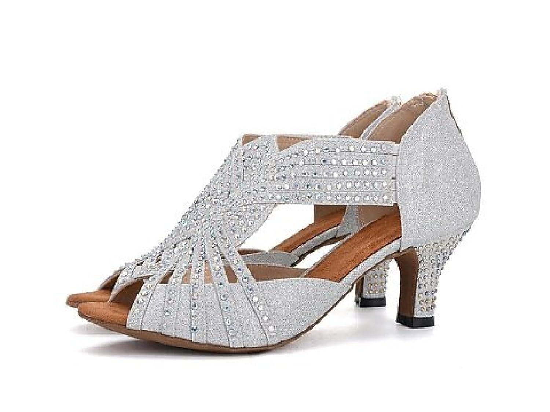 Blancheeled6.5cm Jchaussures Chaussures De Danse Pour Femmes Latin Salsa   Tango   Thé   Samba   Moderne   Jazz Chaussures Sandales Talons Hauts,noirHeeled6.5cm-UK4 EU35 Our36 UK5 EU37 Our38