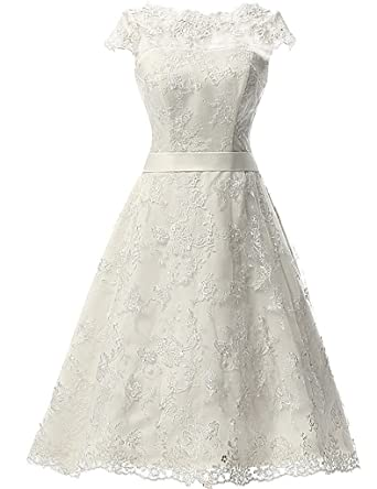 Victoria Prom Womens Vintage Lace Wedding Dress Short Bridal Gown Dresses with Sash Ivory us2