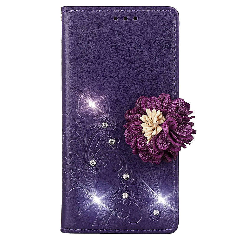 Wallet Case for Google Pixel 2 XL,Shinyzone Embossed PU Leather Flip Cover Handmade Bling Sparkly Diamond with 3D Flower Magnetic Closure Elegant Cover for Google Pixel 2 XL,Purple by ShinyZone (Image #2)