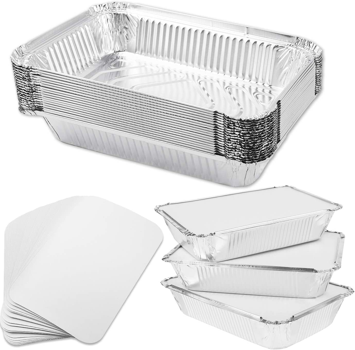 WXJ13 20 Packs Disposable Aluminum Foil Trays Containers with Paper Lids 750ml for Baking, Steaming, Cooking, Storing and Freezing 8.2 Inches x 5.5 Inches