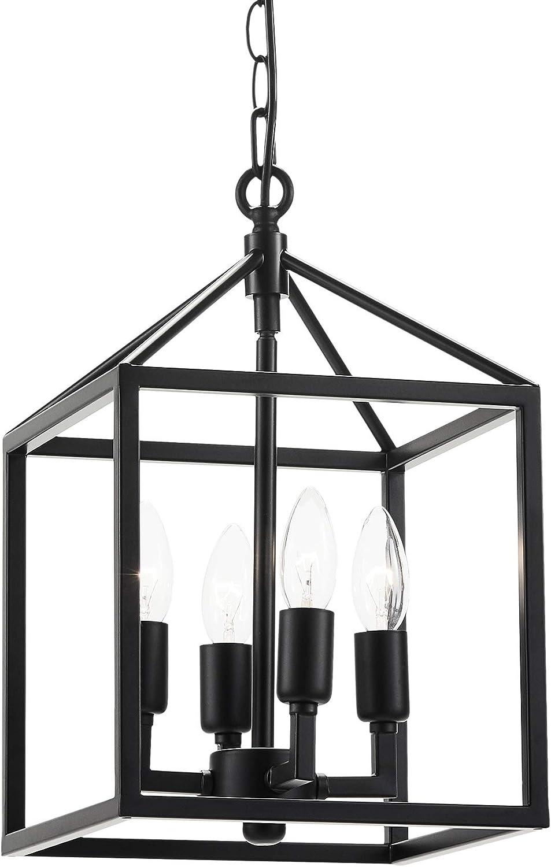 CO-Z 4-Light Lantern Chandelier Light Fixture in Black Finish, Industrial Farmhouse Lantern Pendant Light Square cage, Carmen Ceiling Hanging Light Fixture for Kitchen Island Foyer Entryway Bedroom