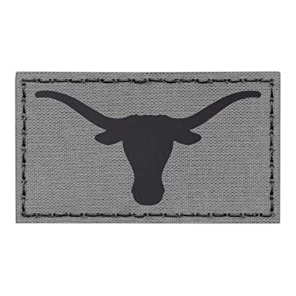 IR Texas Longhorn Wolf Gray Grey Infrared 3.5x2 IFF Tactical Morale Fastener Patch