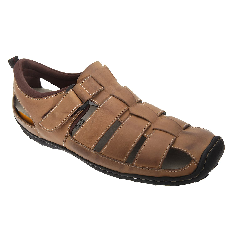 Roamers Herren Sandale mit mit Sandale Klettverschluss Braun 5c5924