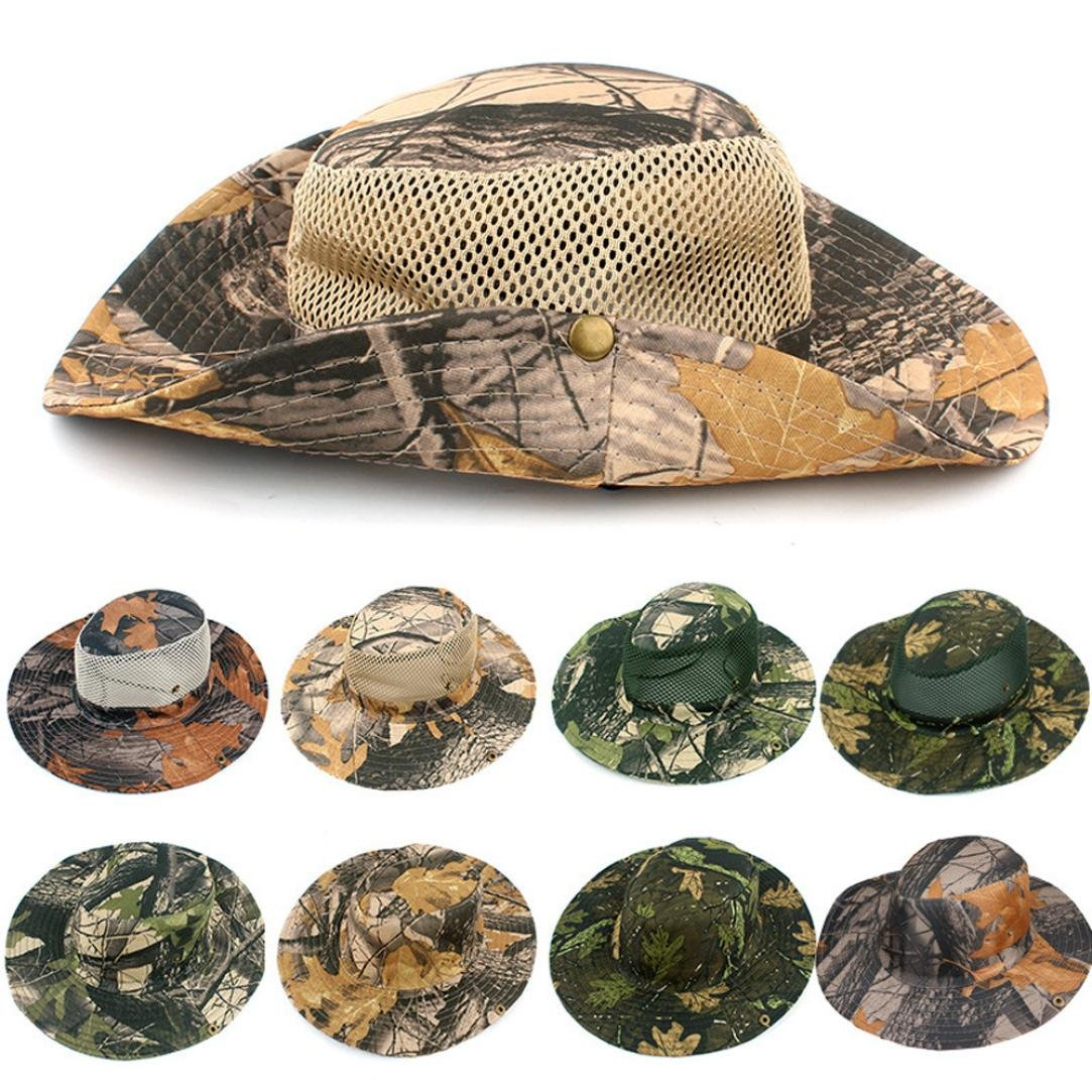 Unisex Sun Hat,Pausseo Camouflage Foliage Women Man Outdoor Hunting Fishing Cap Wide Brim Camo Bucket Hat (Red Leaves) by Pausseo Hat (Image #3)